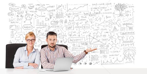 Jonge zakenman zakenvrouw planning business Stockfoto © ra2studio