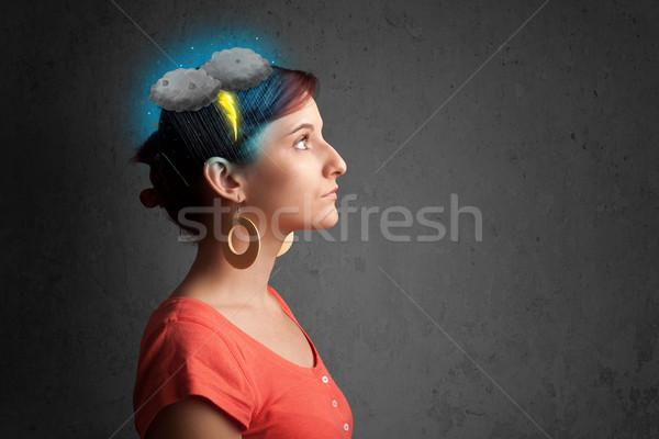 Fiatal lány zivatar villám fejfájás illusztráció férfi Stock fotó © ra2studio
