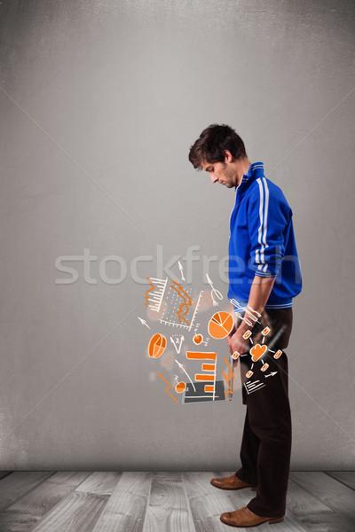 красивый мужчина ноутбука статистика красивый Сток-фото © ra2studio