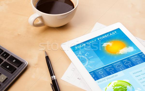 Werkplek tonen weer prognose beker Stockfoto © ra2studio