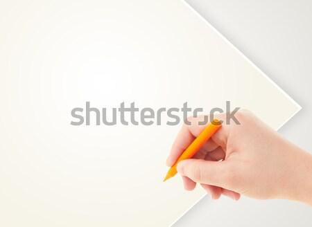 Bambino disegno colorato pastello vuota carta bianca Foto d'archivio © ra2studio