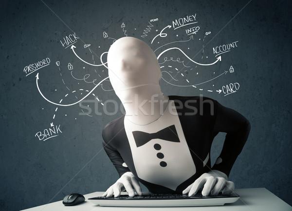 Hacker beyaz hat düşünceler tehlikeli Stok fotoğraf © ra2studio
