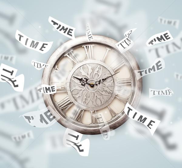 Zdjęcia stock: Zegar · oglądać · czasu · pływające · z · dala · papieru