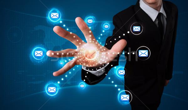 бизнесмен виртуальный обмен сообщениями тип иконки Сток-фото © ra2studio