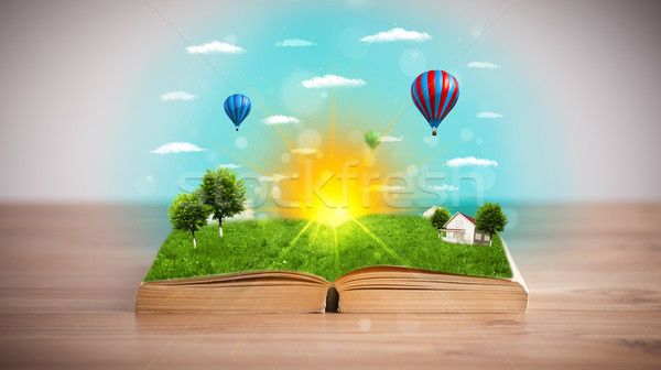 Foto stock: Livro · aberto · verde · natureza · mundo · fora