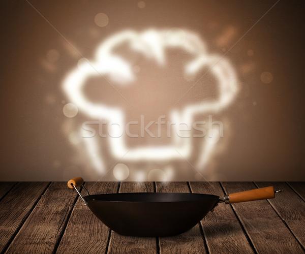 Acima panela fora mesa de madeira restaurante Foto stock © ra2studio