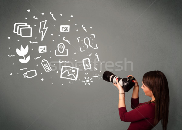 Fotós lány fehér fotózás ikonok szimbólumok Stock fotó © ra2studio