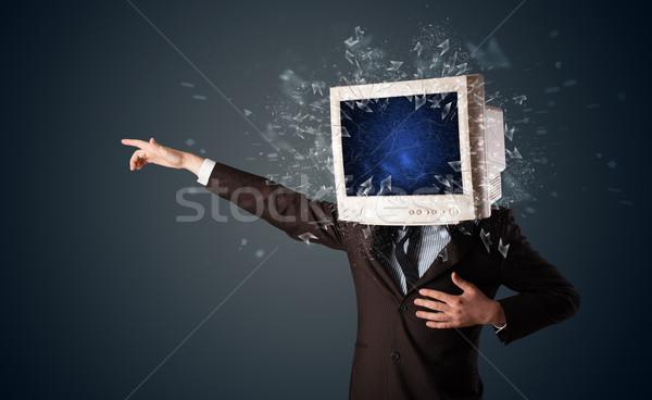 Monitor komputerowy ekranu młodych głowie komputera Zdjęcia stock © ra2studio