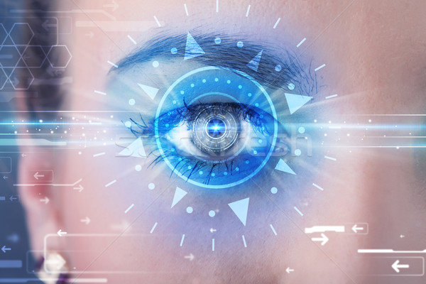 Nina ojo mirando azul iris moderna Foto stock © ra2studio