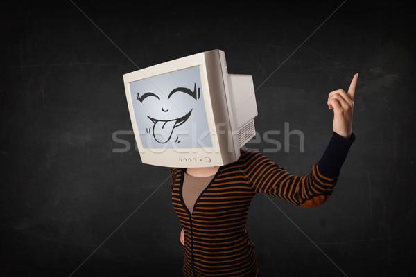 Stock fotó: Fiatal · lány · visel · monitor · vicces · arc · kézmozdulat · nő