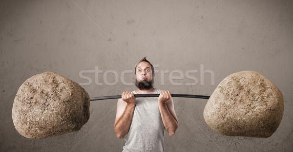 Magro ragazzo rock pietra Foto d'archivio © ra2studio