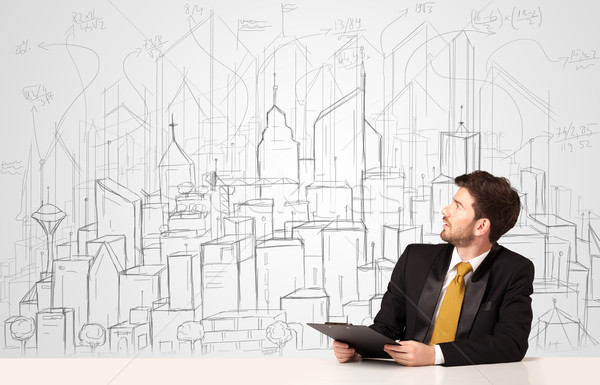 Stockfoto: Zakenman · vergadering · witte · tabel · gebouwen
