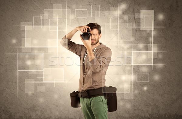 Mannelijke professionele hobby fotograaf camera Stockfoto © ra2studio