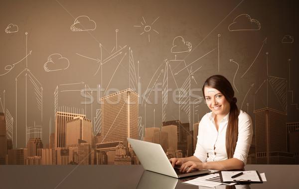 Stock fotó: üzletasszony · épületek · ül · fekete · asztal · papír