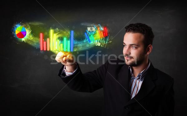英俊 年輕 商人 觸摸 現代 商業照片 © ra2studio