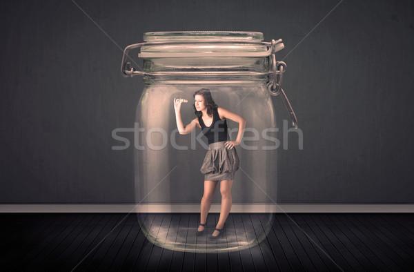 üzletasszony csapdába esett üveg bögre iroda űr Stock fotó © ra2studio