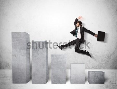 Energiek zakenman springen brug kloof hemel Stockfoto © ra2studio