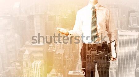 Homem de negócios olhando cidade quente feliz abstrato Foto stock © ra2studio