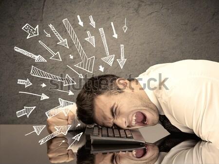 Nyilak mutat szomorú irodai dolgozó kimerült üzletember Stock fotó © ra2studio
