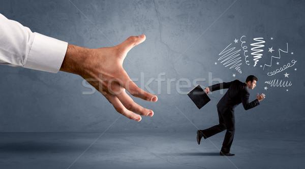 Stresujące biznesmen uruchomiony duży strony biuro Zdjęcia stock © ra2studio