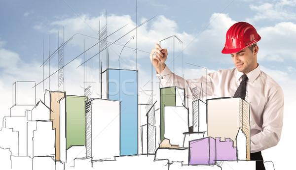 építőmunkás tervez város látnivaló fiatal piros Stock fotó © ra2studio