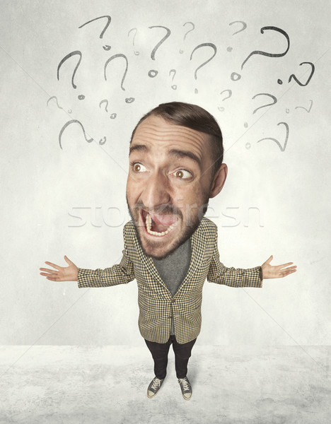 Big head person with question marks Stock photo © ra2studio
