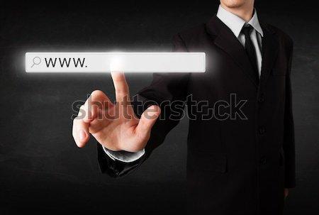 Stok fotoğraf: Genç · işadamı · dokunmak · web · tarayıcı · adres
