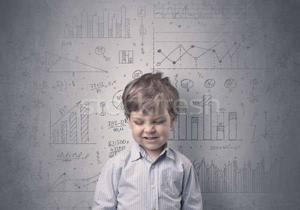 Adorable little kid with statistical concept Stock photo © ra2studio