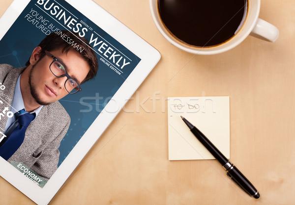 Işyeri dergi kapak fincan Stok fotoğraf © ra2studio