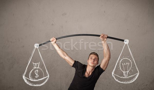 Muscolare uomo equilibrata forte palestra esercizio Foto d'archivio © ra2studio
