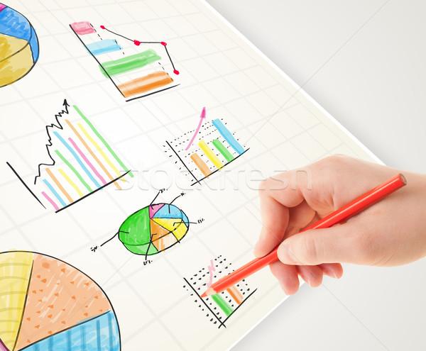 Homme d'affaires dessin coloré graphiques icônes papier Photo stock © ra2studio