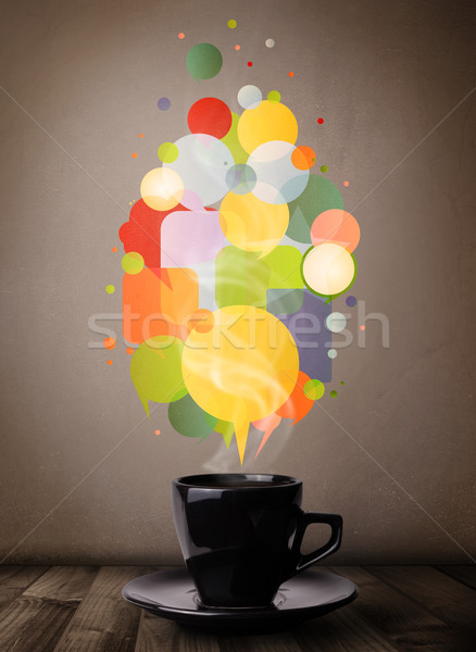 Tea cup with colorful speech bubbles Stock photo © ra2studio