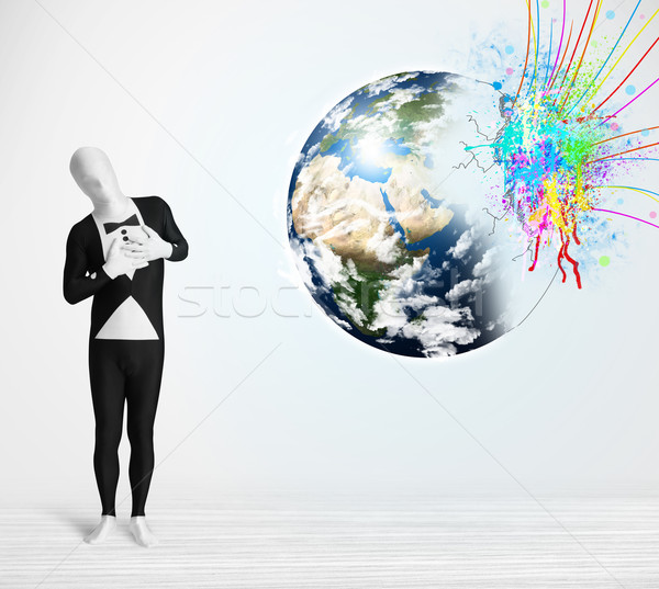 Engraçado homem corpo terno olhando colorido Foto stock © ra2studio