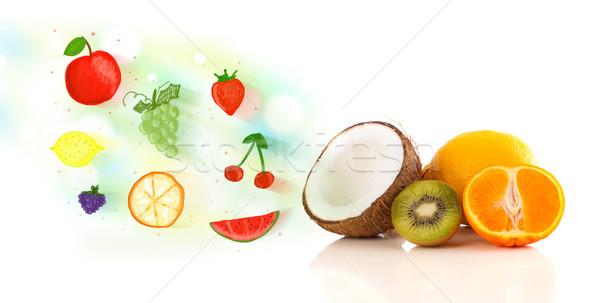 Stockfoto: Kleurrijk · vruchten · geïllustreerd · witte · voedsel