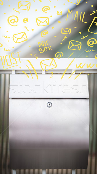 Postbox with white hand drawn mail icons Stock photo © ra2studio