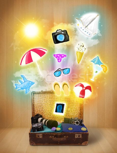 Turista táska színes nyár ikonok szimbólumok Stock fotó © ra2studio
