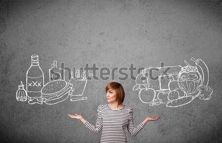 женщину Постоянный здорового нездоровый довольно Сток-фото © ra2studio