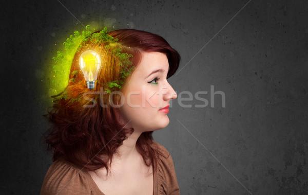 Stock fotó: Fiatal · elme · gondolkodik · zöld · öko · energia