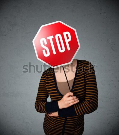 Stok fotoğraf: Genç · kadın · dur · işareti · genç · bayan · ayakta