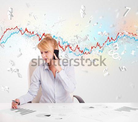 Zakenvrouw vergadering tabel beurs grafiek 3D Stockfoto © ra2studio