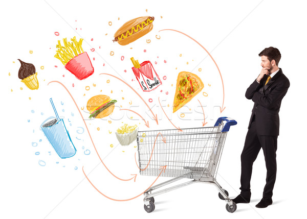 Man winkelwagen giftig zakenman voortvarend Stockfoto © ra2studio