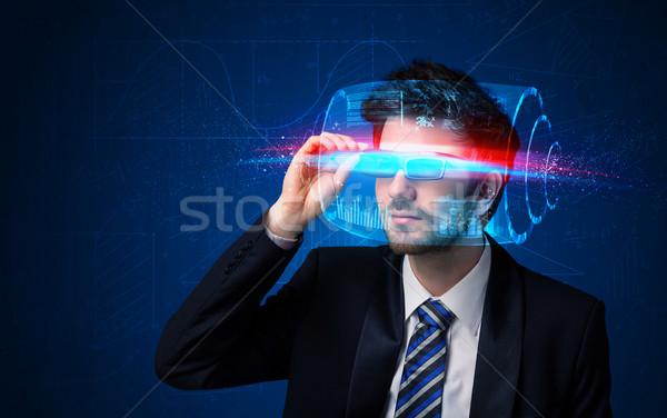 Férfi jövő magas tech okos szemüveg Stock fotó © ra2studio