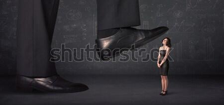 Hatalmas láb pici nő háttér öltöny Stock fotó © ra2studio