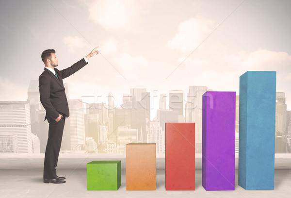 Klimmen omhoog kleurrijk grafiek business Stockfoto © ra2studio