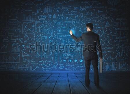 деловой человек кирпичная стена огромный молота человека Сток-фото © ra2studio