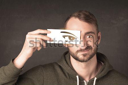 Bobo olhando olho papel Foto stock © ra2studio