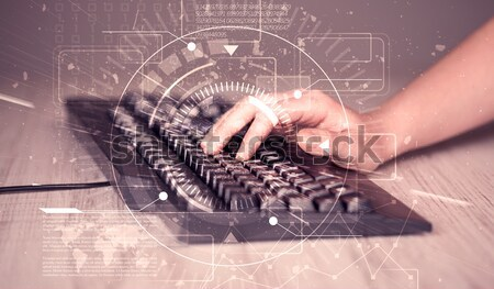 Keyboard with high tech user interface graphic Stock photo © ra2studio