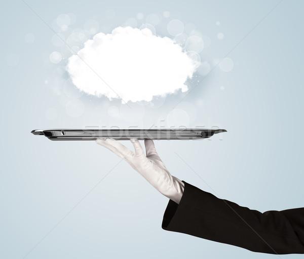 Hand groot wolk dienblad elegante Stockfoto © ra2studio