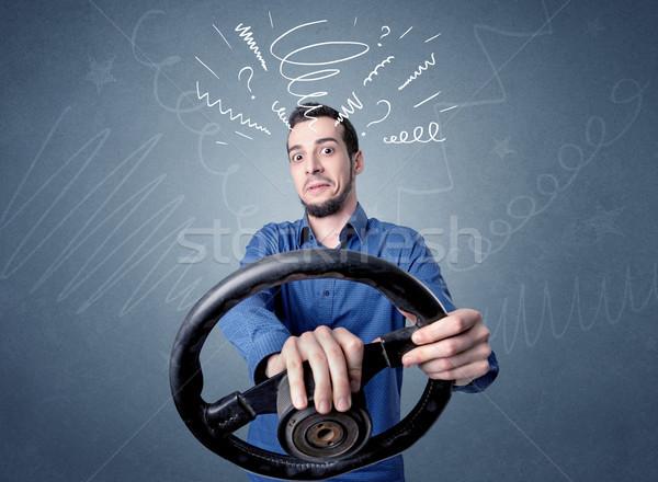 Foto stock: Homem · volante · moço · preto · branco
