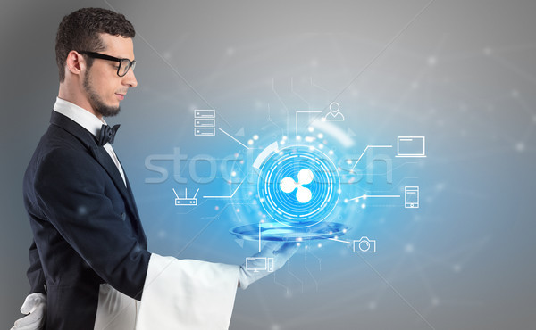 Stock photo: Waiter serving cryptocurrency concept